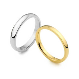 Plain lesbian and gay wedding rings in gold, palladium, and platinum