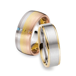 Gay rainbow and two-tone wedding rings perfect for gay and lesbian weddings