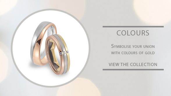 Triple Three Color and Two Tone Rose White Yelow Gold Gay Lesbian Wedding Ring