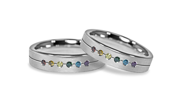 Rainbow Sapphire Gay Lesbian Engagement Pride Ring