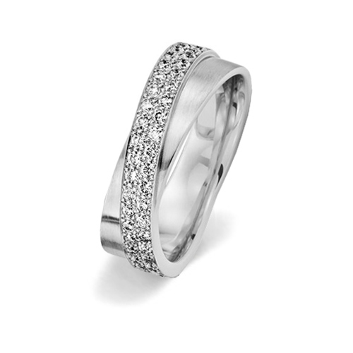 Unusual special pave set diamond engagement ring with 40 diamonds from www.wooltonandhewitt.co.uk the LGBT gay lesbian wedding jeweller