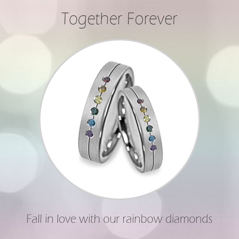 Superb rainbow diamond engagement ring for gay and lesbian couples