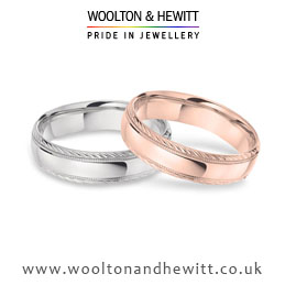 Stylish patterned white, rose, pink or yellow gold or platinum wedding ring