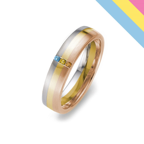 Stunning Pansexual Pride Flag Ring with 3 Fine Diamonds 4.5mm from www.wooltonandhewitt.co.uk