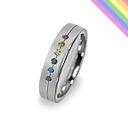 gay rainbow wedding ring